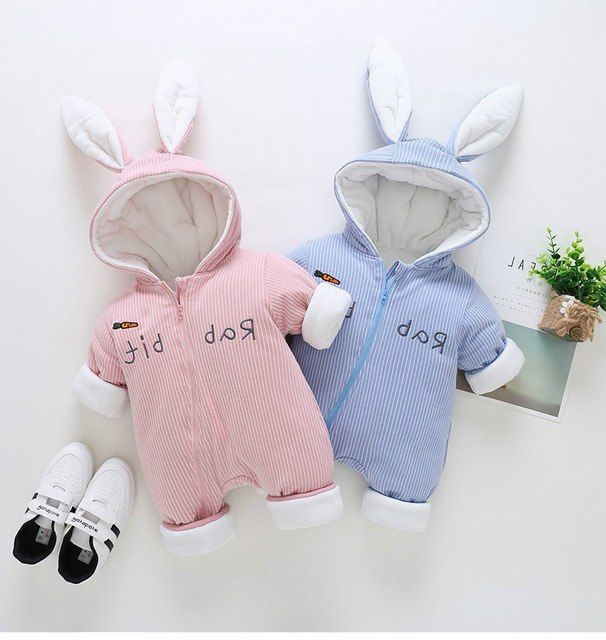 Cute Bunny Wool Velvet Childrens Clothing Little Baby Clothes Girl Long Sleeve Jumpsuit Newborn Infant Snow