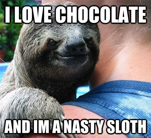 I love chocolate and im a nasty sloth