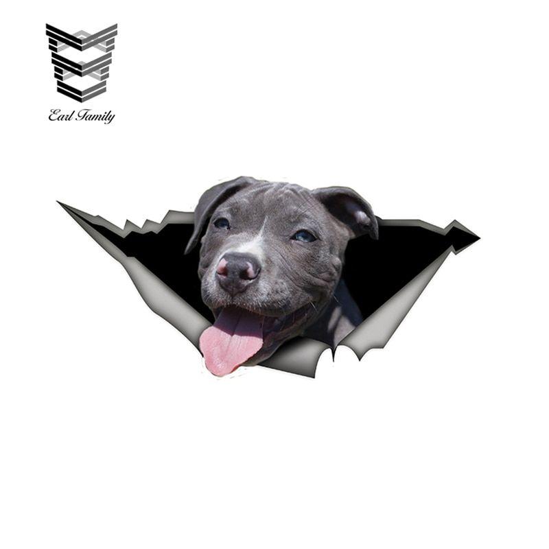 EARLFAMILY 15cm x 6cm Funny Grey pitbull Car Vinyl Decal Pet Dog Car Stickers Waterproof 3D