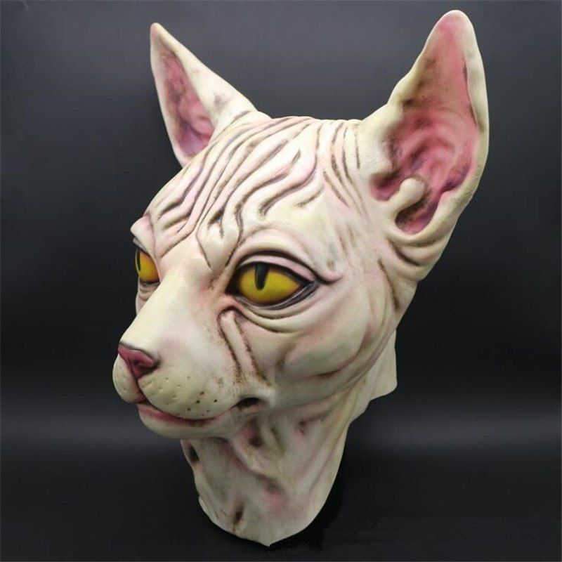 Halloween Animals Canadian Hairless Grim Mask Cats Dancing Party Funny Mask Terror Fancy Game Latex Hoods in Boys Costume Accessories from Novelty & Special