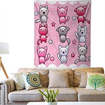 AnimeWall tapestryFor Kids Cute Kitty Doodles Emotions Funny Animal Theme Japanese Art PrintColorful Tapestry 57W x