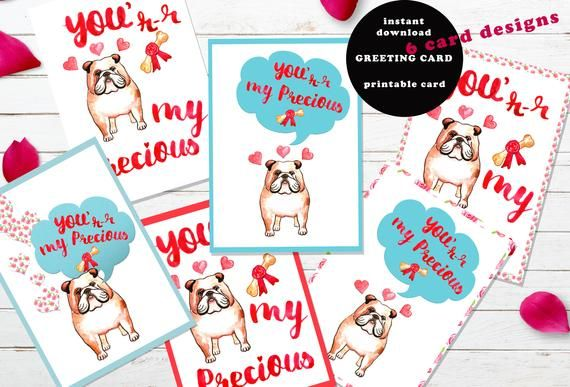 Funny printable Valentine s day card Bulldog Dog Lovers Template Clipart Gift for Him For boyfriend