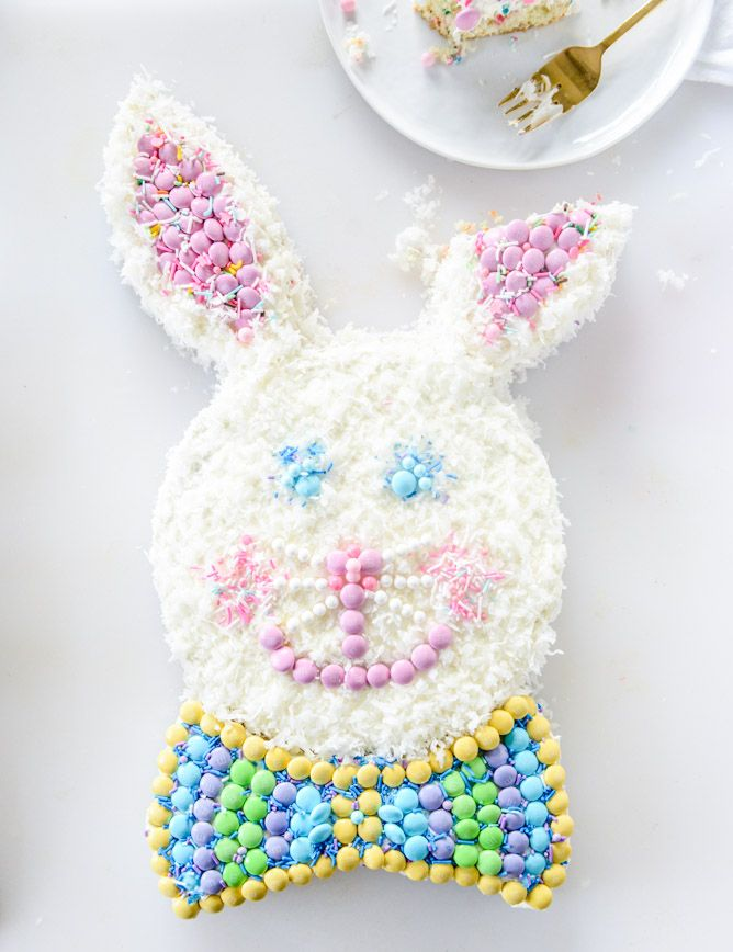 coconut confetti classic bunny cake with M&M S I howsweeteats