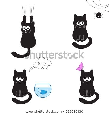 Cute and funny black cat collection cat with spider fish butterfly and sharpening
