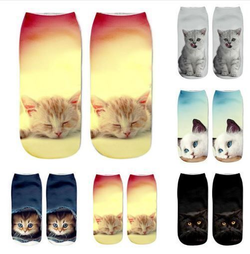 New Popular Cute Funny Girls Casual Socks 3D Cat Printed Anklet Sock Short Socks MUQGEW