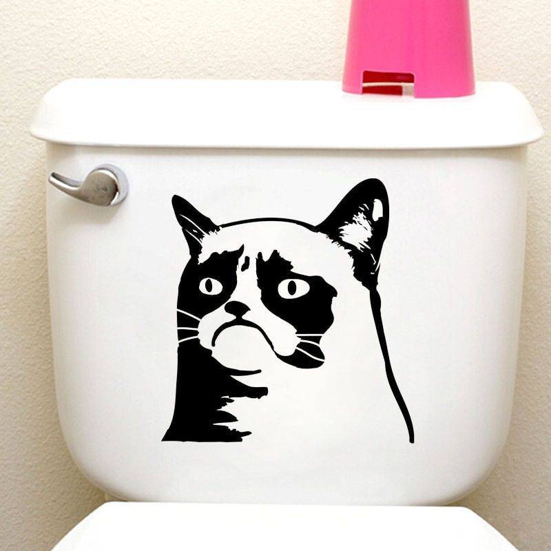 Grumpy Cat Funny Animal Toilet Stickers Home Decoration Wall Decals 4WS 0065