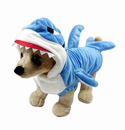 Mogoko Funny Dog Cat Shark Costumes Pet Halloween Christmas Cosplay Dress Adorable Blue Shark