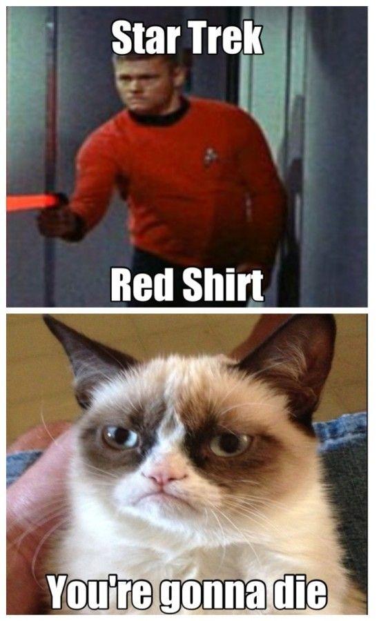 Star Trek red shirt Grumpy Cat tells the truth