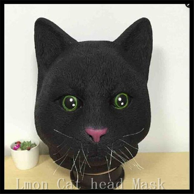 Adults Halloween Christmas Party Cosplay Animal Full Head Cat Mask Funny Cat Mask Realistic Carton Movie Animal Mask in stock