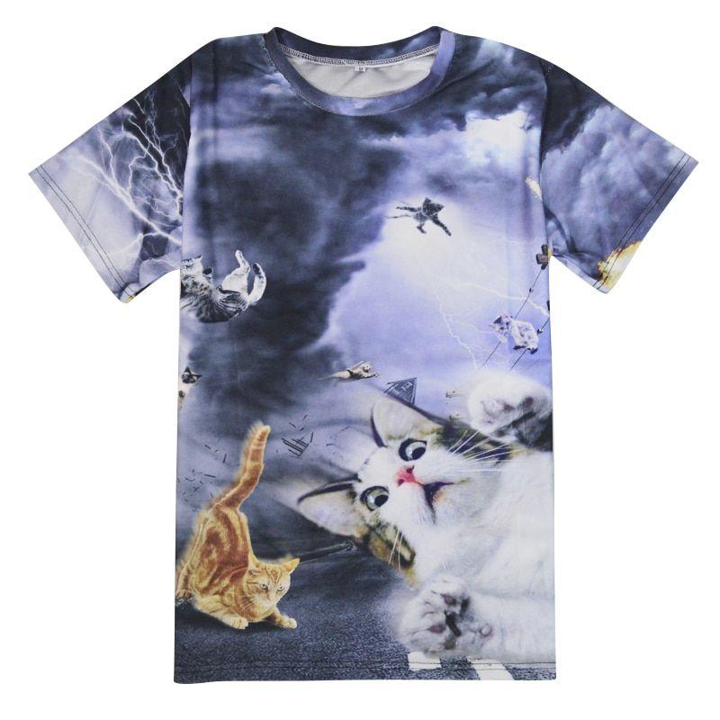 Alisister New Fashion Women men Funny Cat T Shirt Print Animal 3d T shirt Casual Mens Cartoon T Shirt Fighting Cat Tee Shirts in T Shirts from Women s