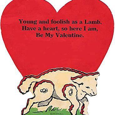Vintage Valentines Day card Lamb Valentine