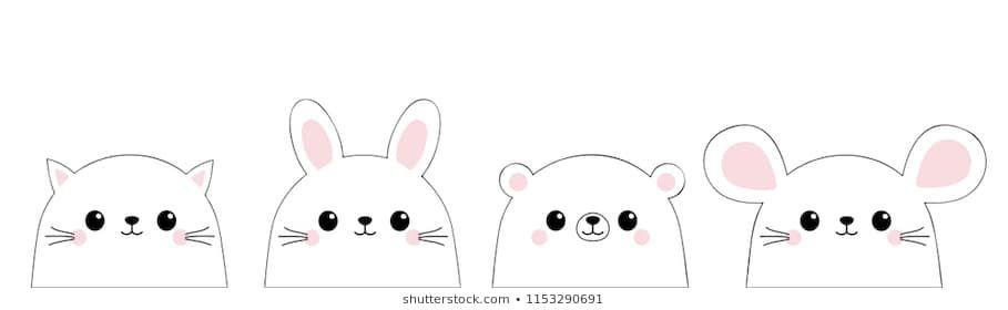 Cat kitten kitty mouse bear rabbit hare face set Doodle linear sketch