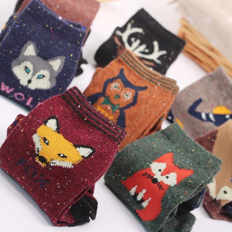 2019 Cute Animal Winter Wool Knitted Warm Fox Animal Socks For Female Women S New Funny Cute Texture Socks From Candd $30 37