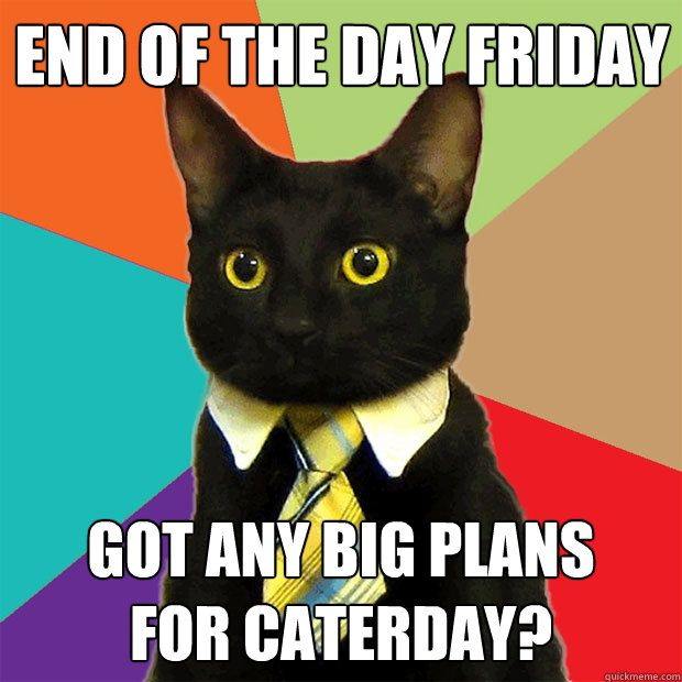 End of the day Friday Got any big plans for Caterday