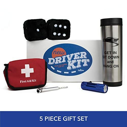 Muttmee New Driver Gift Set Fuzzy Dice Car Travel Mug Tire Gauge