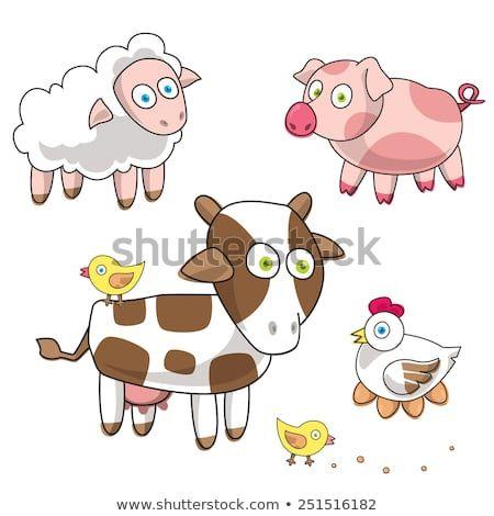 Funny farm Cartoon pig lamb cow hen and eggs sheep chicken Vector illustration e p s 1 0 Vector