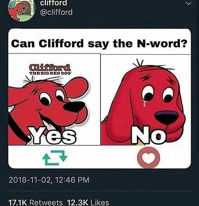 """image by ur mum edgy kneecar with caption """"Can Clifford say the"""