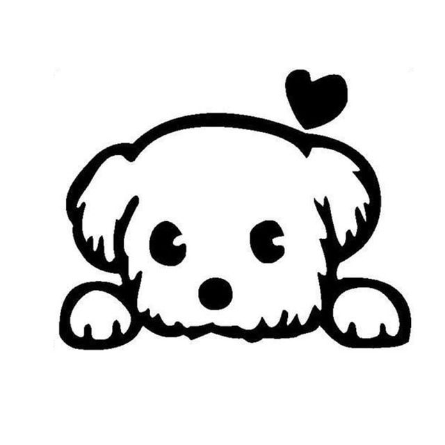 13 10 4CM Baby Pet Cute Dog Cartoon Window Decals Funny Animal Car Sticker Accessories Black Silver C6 1340