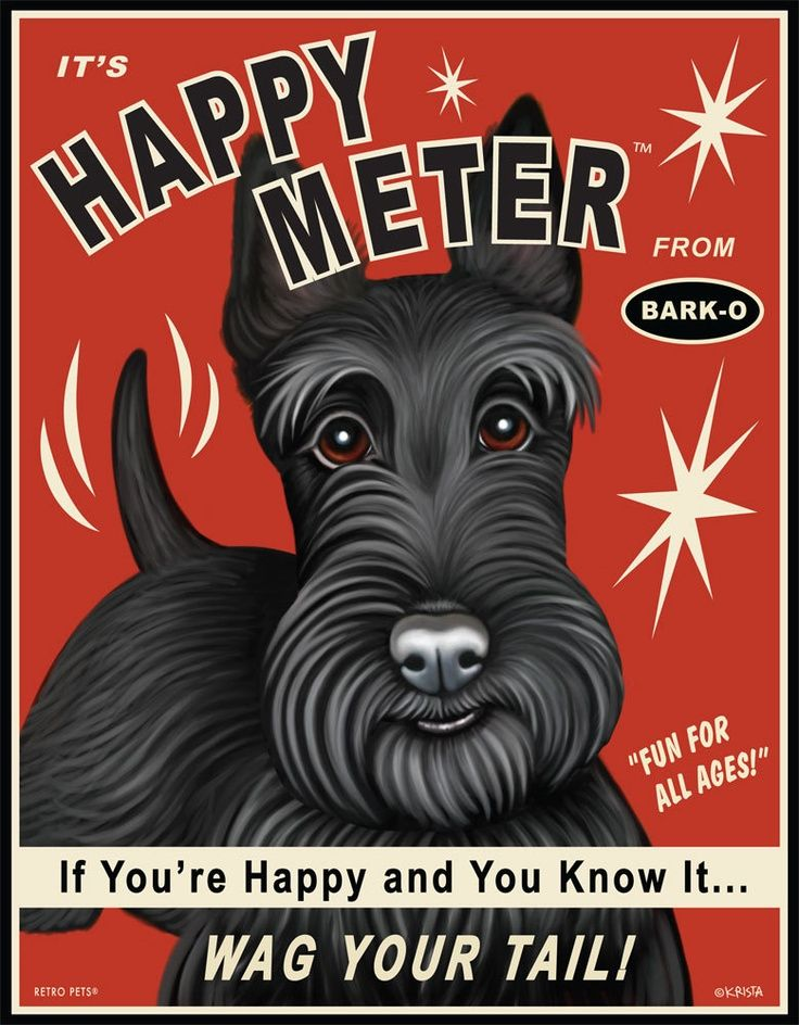8x10 Scottie Art Happy Meter If Your Happy and You Know it Wag Your Tail Art print by Krista Brooks