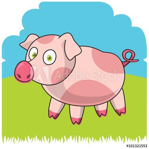 Funny farm Cartoon pig Vector illustration