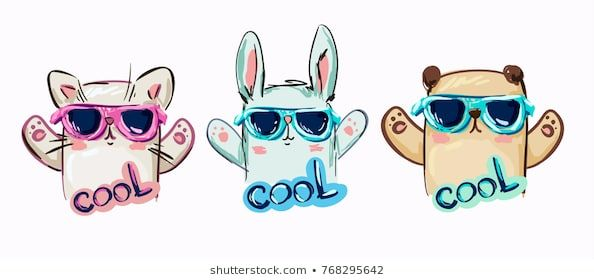 bunny with glasses bear with glasses cat with glasses Trendy cool illustration vector