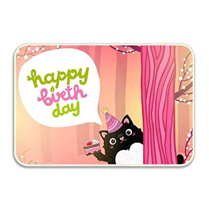 Amazon RENJUNDUN Happy Birthday Card with A Cute Fat Cat Wel e Doormat Entrance Mat Floor Mat Rug Indoor Bathroom Mats Rubber Non Slip Garden &
