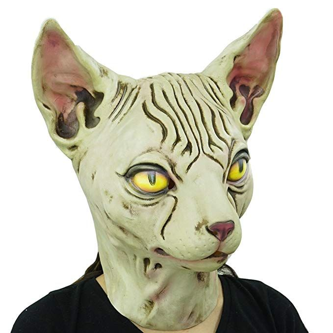 Amazon Hairless cat Latex Mask Funny Animal Hood Halloween Costume Party Decorations Clothing