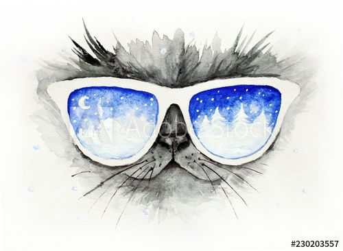 Cat in the glasses in which winter is reflected Funny christmas watercolor illustration card