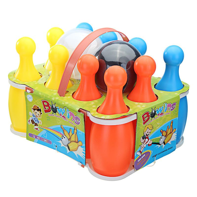 Details about Funny Plastic Bowling Set With Balls Pins For Kids Children Learning Toys