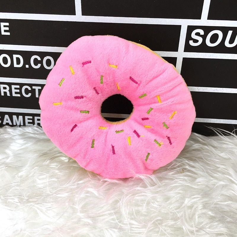 1PC Funny Pet Dog Chew Throw Toys Cute Donuts Puppy Cat Squeaker Squeaky Plush Sound Toys pet toys for pet dog toy in Dog Toys from Home & Garden on