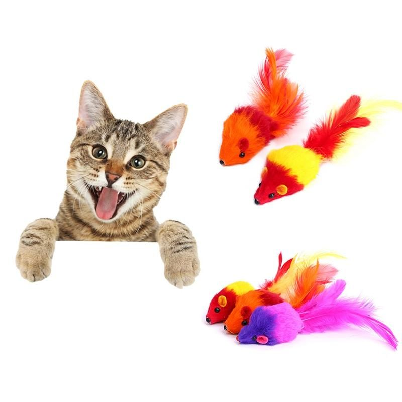 Colorful Soft Fleece False Mouse Toys For Cat Feather Funny Playing Pet Dog Cat Small Animals Feather Toys Color Random Cat Chase Toys Cat Chew Toys From