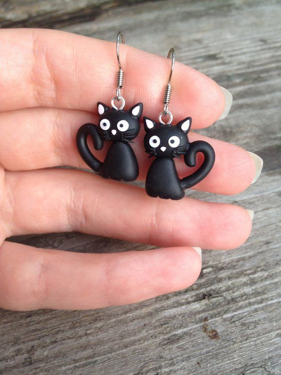 Earrings black cats Funny cats Black cats jewelry Miniature cats Cats lovers Witch earrings Witch je