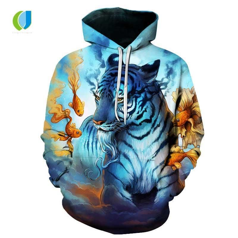 Autumn New Fashion Men S Women S 3D Printing Hoo Animal Print Funny Color Panda Tiger Blue Flame Dragon Casual Hoo UK 2019 From Dolylove