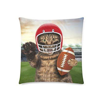 InterestPrint Funny Cat Football Home Decor Green Grass Soft Cotton Pillowcase 18 x 18 Inches
