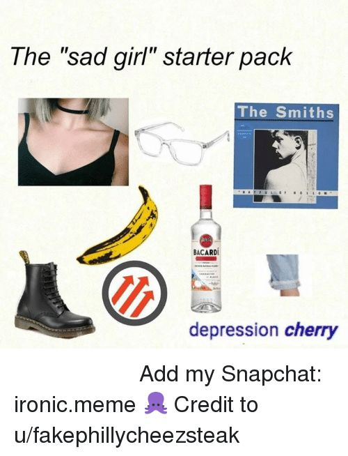 """Girls Ironic and Meme The """"sad girl"""" starter pack The Smiths"""