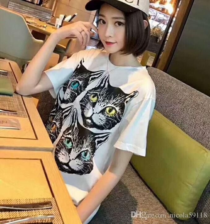 2018 summer new four cat head loose round neck short sleeved couple models printed animal