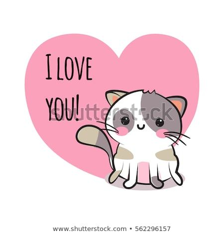Valentines day congratulation card with cartoon cute smiley kitten and pink heart with text I love you Funny and lovely neco cat greeting card