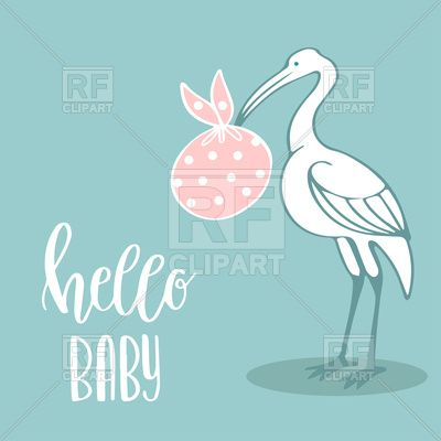 Cute greeting card with stork and bag of baby hello baby lettering Vector Image