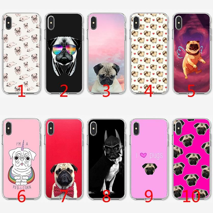 Cute Pug Dog Funny Soft Silicone TPU Case For IPhone X XS Max XR 8 7 Plus 6 6s Plus 5 5s SE Cover Designer Cell Phone Cases Leather Cell Phone Cases