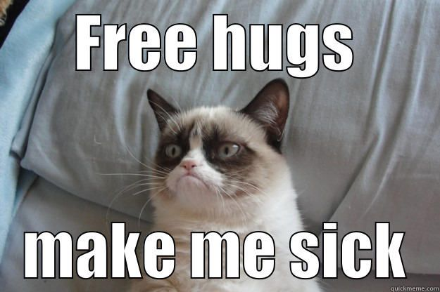 Grumpy cat FREE HUGS MAKE ME SICK Grumpy Cat