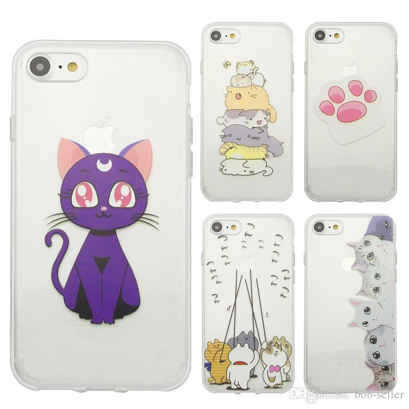 For Iphone 7 Plus 6s Plus Soft TPU Transparent Case Pet Animal Cat Dog Painting Protector Funny Silicon Cell Phone Cases Wholesale Cell Phone Cases Designer