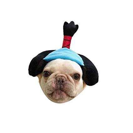 Stock Show 1Pc Dog Cat Cute Novelty Japan Geisha Samurai Hat Headwear Sticker Dog Cat Funny