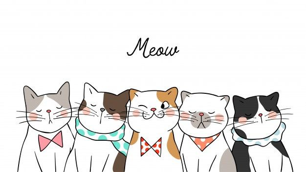 Draw banner background portrait cute cats on white
