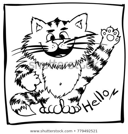 Childish doodle happy cat for kids coloring book Funny outline kitty for babyish mercial