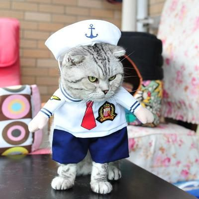 Cute Pet Dog Cat Costume Sailor Outfit Halloween Jumpsuit Puppy Uniform Clothes Funny Party Cosplay Role Play Dressing Up Coat Funny Cat Costumes Halloween