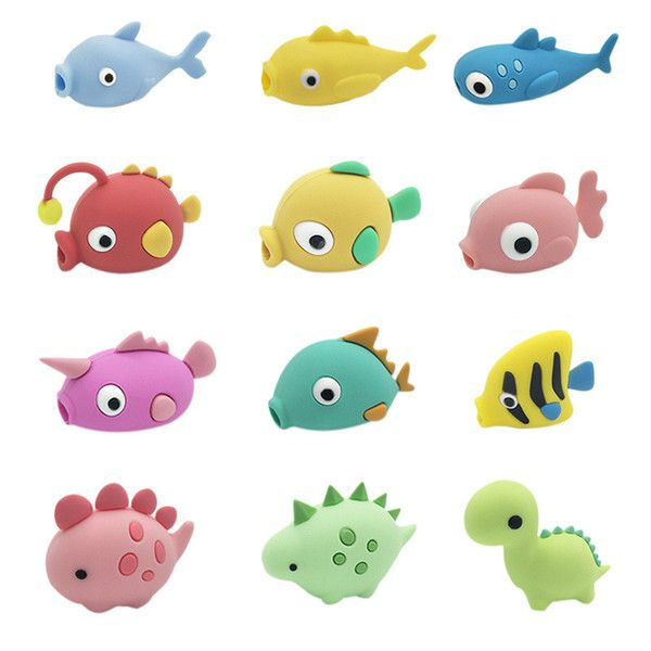 Cute Fish Dragon Cable Accessory Charger Animal Bite Data Line Protector for iphone USB Cable Protection
