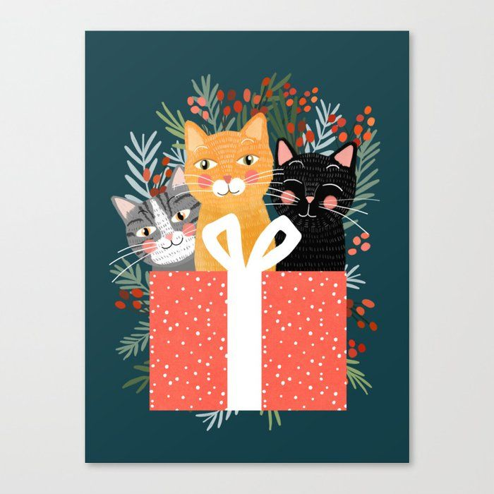 Cats cute christmas xmas tree holiday funny cat art cat lady t unique pet ts Canvas Print