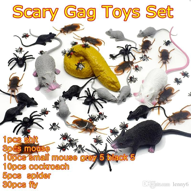 2019 Lifelike Plastic Mouse Cockroach Fly Realistic Fake Rubber Poop Shit Funny Tricky Joking Scary Gag Toys Set For Halloween Funny Toys From Lenny6