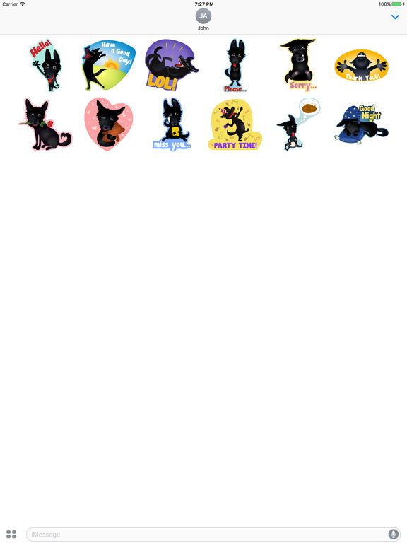Screenshot 2 for Nero the Black Dog Cute Funny ic Pet Stickers