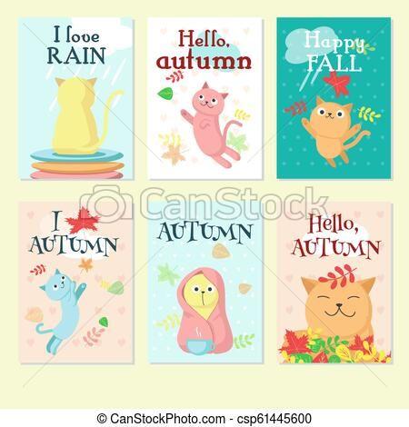 Autumn cute cat icon set vector illustration csp
